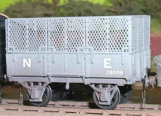 NER diagram C3 8T open goods wagon fitted with expanded metal frames. (NERDC003)